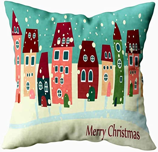 Amazon Com Roolays Christmas Pillow Covers Christmas Home Decor Christmas Cute Houses Fun Pillow Cases 16x16 Inch Home Kitchen