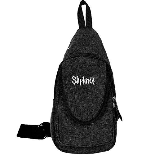 GUOZX Men Women Slipknot Loo Canvas Chest Pack Crossbody Casual Sling Shoulder Bag Travel Hiking Black ()