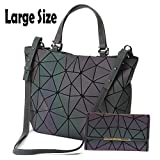 HotOne Geometric Luminous Purses and Handbags Shard Lattice Eco-Friendly Leather Rainbow Holographic Purse (Luminous Large+Wallet Set)