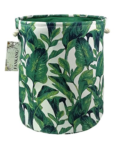 FANKANG Storage Baskets,Collapsible & Convenient Nursery Hamper/Laundry Bin/Toy Collection Organizer for Kid's Room (Green Leaves)