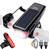 BURNINGSUN Bike Light Set and Horn Solar Powered USB Rechargeable Front and Rear Bicycle Light 350 Lumens 4 Mode Headlight and Bell Back Tail Light Taillight LED Speaker Road Cycling Safety Flashlight Review