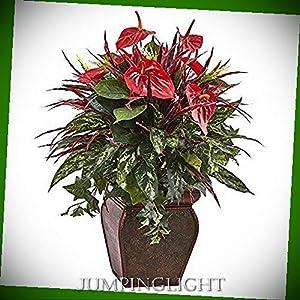JumpingLight Anthurium Mixed Plant with Planter Artificial Flowers Wedding Party Centerpieces Arrangements Bouquets Supplies 68