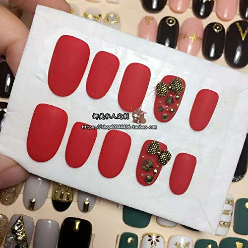 Jiamusi Hand-made Finished Nail products Japanese Phototherapy Bright Red Scrub Bowknot Young Fashion Beautiful False Nail Art Stickers Nail Decal multicolor S -