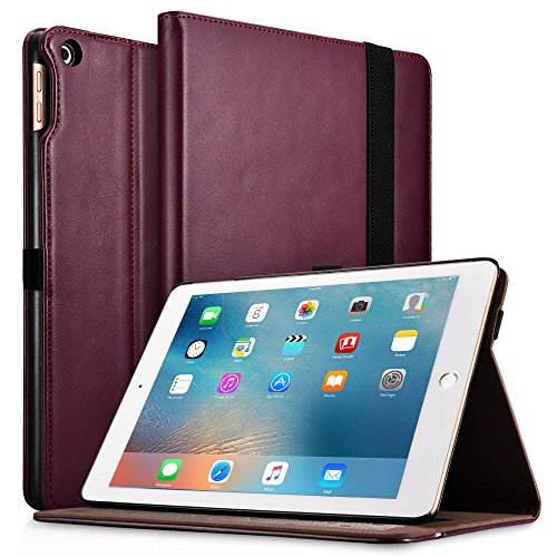New iPad 9.7 2017/2018 Case, Icarercase Premium Leather Slim Folio Cover Auto Wake/Sleep,Pencil Holder Kickstand Function Apple iPad 9.7 5th/6th Gen (Purple) by icarercase