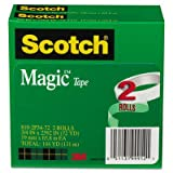 Magic Tape, 3/4'' x 2592'', 3'' Core, 2/Pack, Total 12 PK, Sold as 1 Carton