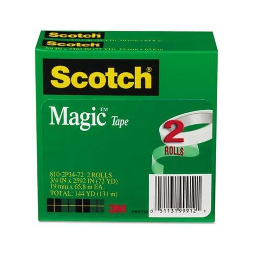 Magic Tape, 3/4'' x 2592'', 3'' Core, 2/Pack, Total 12 PK, Sold as 1 Carton