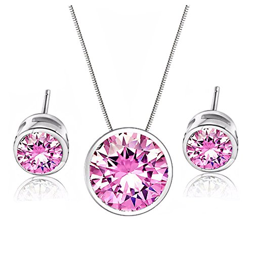[18K White Gold Plated Necklace Pink Round Crystal Pendant Stud Earrings Set for Women Teen Girls] (Tiffany Blue Costume Jewelry)