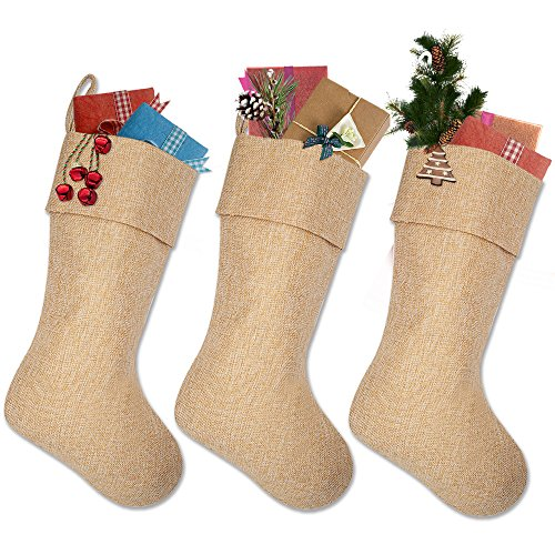 Ivenf Burlap Personalized Christmas Stockings, 3 Pack