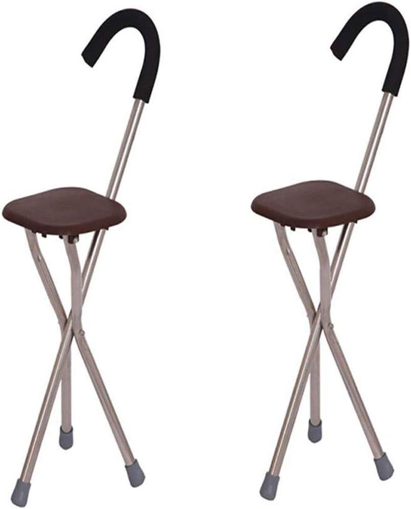TONGS Caminar Silla Plegable de Ancianos Palillo de Heces de Aluminio Bast Muleta Portátil