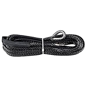 "Winch Rope Synthetic Fiber Cable ATV UTV SUV KFI Recovery Replacement (50' x 1/4"" 6400lbs, Black)"