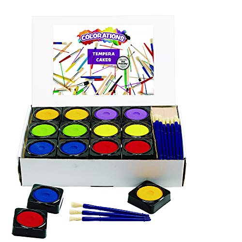 (Colorations Individual Tempera Cake Classroom Pack Classroom Supplies for Arts and Crafts Multicolor Variety Pack (Pack of 36))