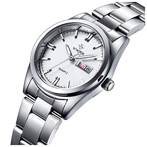 Women's Watches Luminous Waterproof Calendar Ladies Stainless Steel Dress Quartz Wrist Watch (Silver) ()