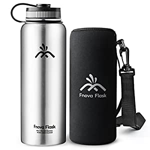 40 oz Stainless Steel Water Bottle, Fnova Flask Insulated Double Walled Vacuum Thermos, Wide Mouth bouns Protective Pouch/Carry Cover, BPA-Free, Cold 24 Hrs / Hot 12 Hrs (Stainless steel, 40oz)