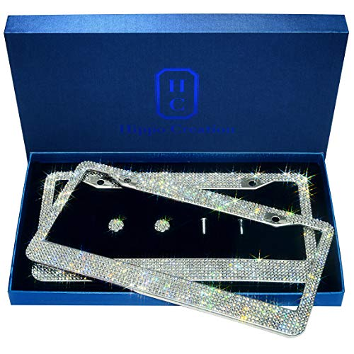2 Pack Luxury Handcrafted Bling White Rhinestone Premium Stainless Steel License Plate Frame with Gift Box | 1000+ pcs Finest 14 Facets SS20 Clear White Rhinestone Crystal | Anti-Theft Screw - White Crystal Rhinestone