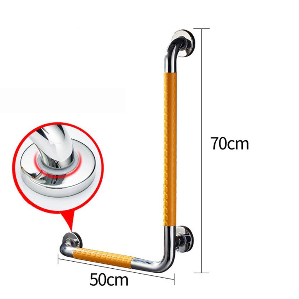 L型ステンレス製手すりトイレシャワーバスルーム年配者障害者浴室ノンスリップアクセシビリティ (色 : イエロー いえろ゜, サイズ さいず : 左) B07GW5RW6V 左|イエロー いえろ゜ イエロー いえろ゜ 左