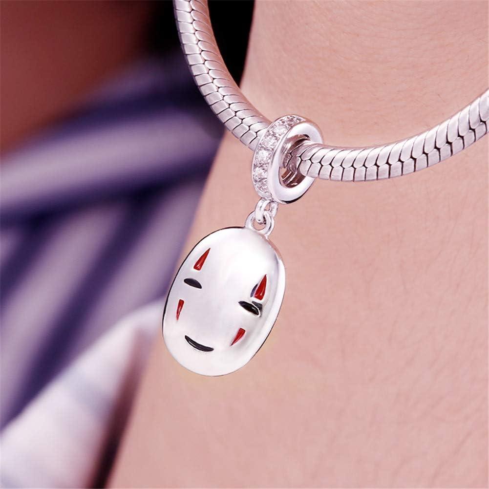 GNOCE Femme Charm Homme sans Visage en Argent Sterling 925Le Voyage de Chihiro Charm Pendantif Compatible avec Bracelets et Colliers