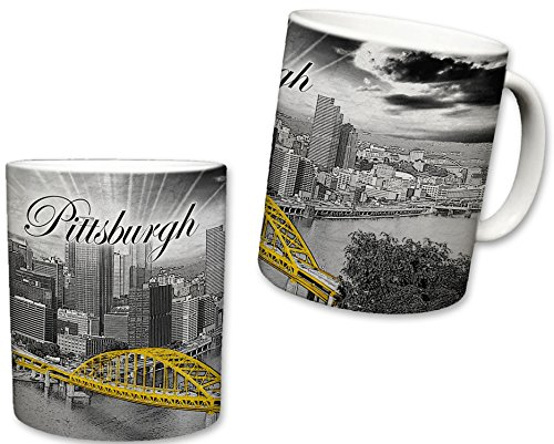 Sweet Gisele | City of Pittsburgh Inspired Mug | Ceramic Coffee Cup | Downtown Skyline | Fort Pitt Bridge | Point State Park | Black & White Detailing | Yellow - Mug Oz 11 Pittsburgh Steelers