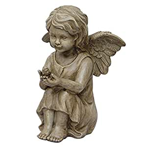 "Amazon.com : 11.5"" Little Girl Angel Holding Bird Cherub"