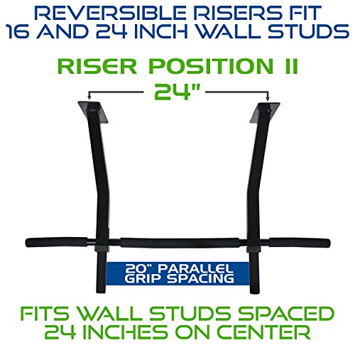 Ultimate Body Press Wall Mount Pull Up Bar with Reversible Risers