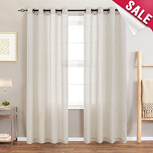 Linen Textured Curtains for Living Room 84 inches Long Bedroom Window Treatment Linen Look Window Curtain Panels, Grommet Top, 2 Panels, Crude For Sale