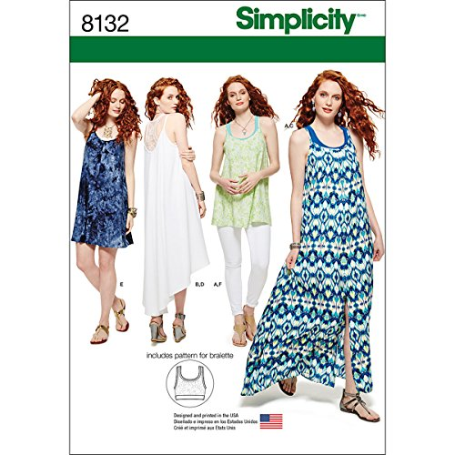 Simplicity 8132 Women's Dress and Knit Bralette Sewing Patterns, Sizes 12-20