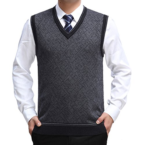 Sweater Knitted Vest Warm Cashmere Wool V Neck Sleeveless Pullover (Large, Dark Gray) (Cashmere V-neck Sweater Vest)