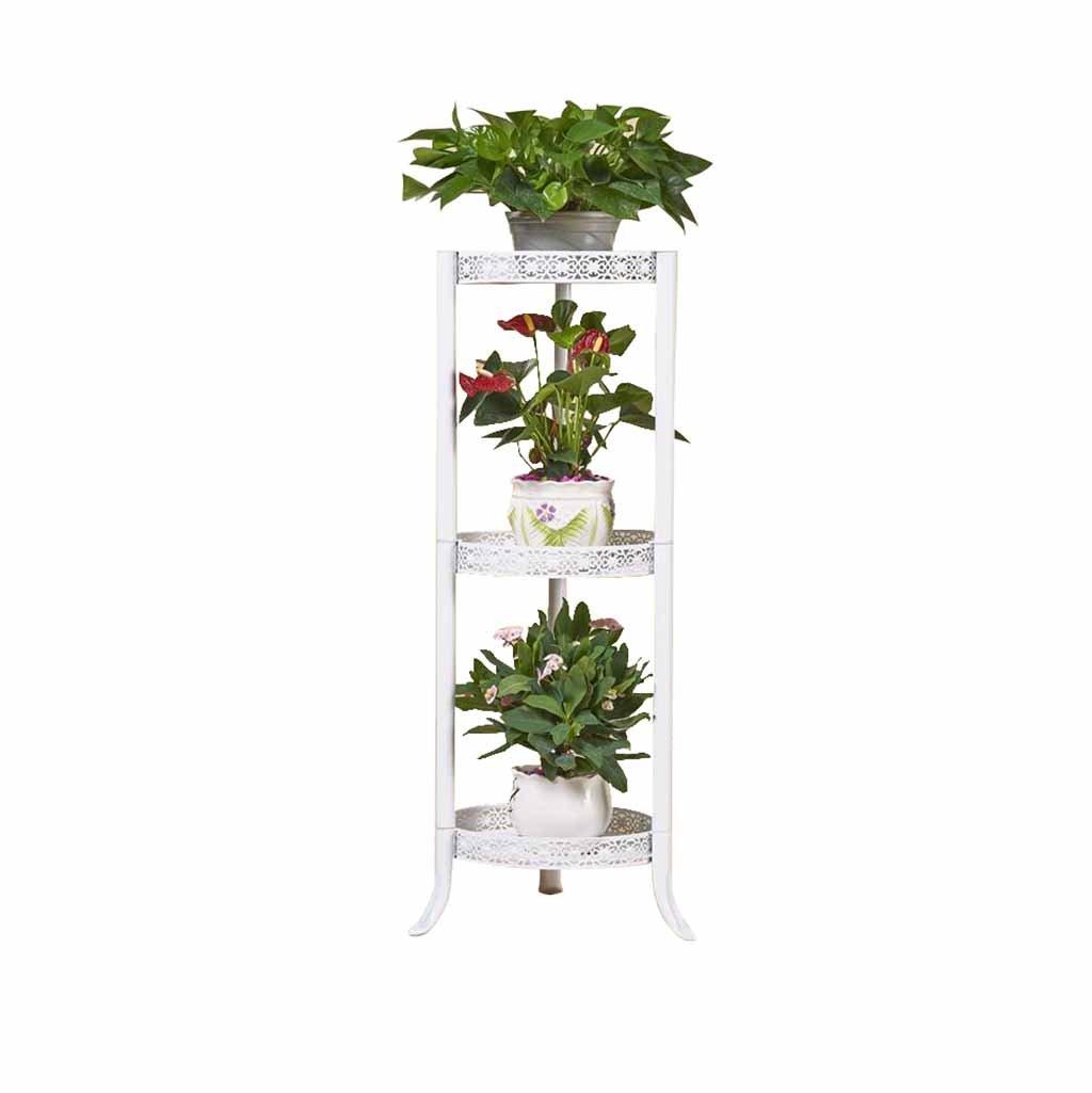 3 Livelli Fiore Vaso da Fiori Stand cremagliera in Metallo Soggiorno Balcone con Gancio da Giardino Patio Display Shelf Planter Holder (Bianco)
