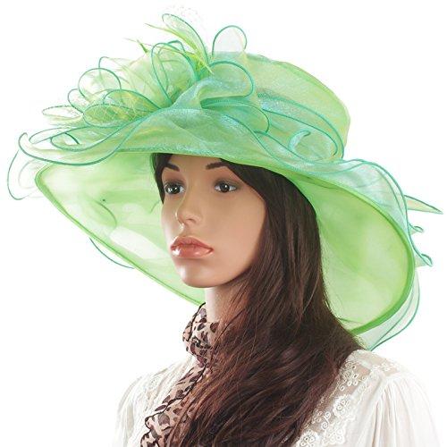 Feather Light Womens Hat (Original One Women's Organza Feathers/veil Party Occasion Event Kentucky Derby Church Dress Sun Hat Cap (Light green))