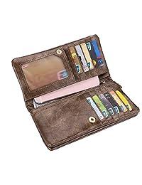 Realer Women's PU Leather Double Zipper Coin Purse Card Holder Case Long Wallet