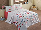 LaModaHome Nature Coverlet, 100% Cotton - Birds Fly Over Flowers, Red Blue and Green on White - Size (94.5'' x 86.6'') for Queen Bed