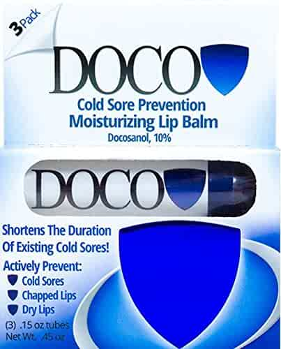 DocoShield Cold Sore Prevention Lip Balm w/Docosanol (3-Pack)