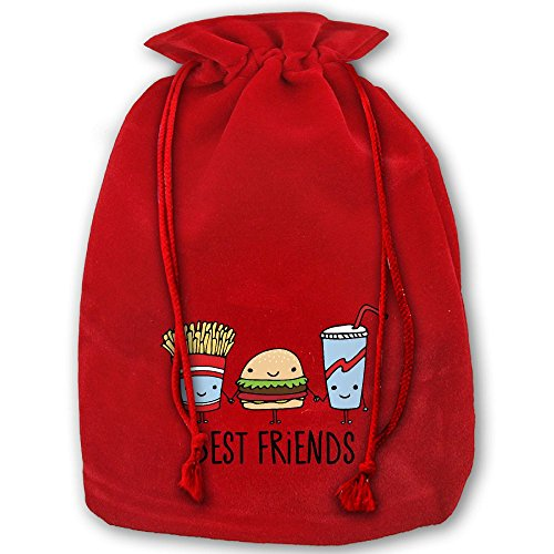 (Chips Hamburger Cola Best Friends Red Christmas Drawstring Bags / Santa's Trouser Bag/ Christmas Gift)