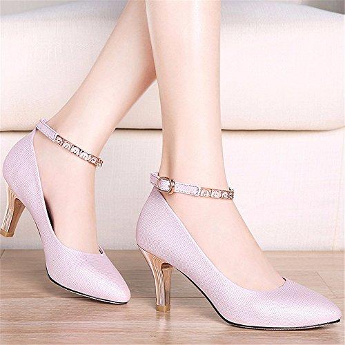 HXVU56546 Otoño Con La Nueva Delgada Con Tacones Altos Zapatos Puntiagudos Zapatos De Dama Moda Purple