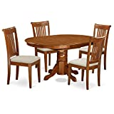 East West Furniture AVPO5-SBR-C 5-Piece Dining Table Set For Sale