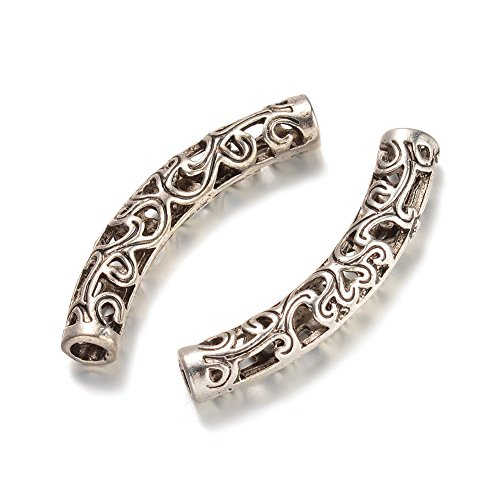 Kissitty 100-Piece Antique Silver 6mm by 36.5mm Filigree Long Curved Noodle Tube Spacer Beads with 3mm Holes