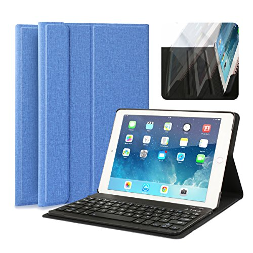 iPad Keyboard Case, Multi-Angle Viewing Fabric Folio Stand Cover Case with Removable Wireless Bluetooth Keyboard for Apple iPad Air 1/iPad Air 2/iPad Pro 9.7 Inch & iPad 9.7