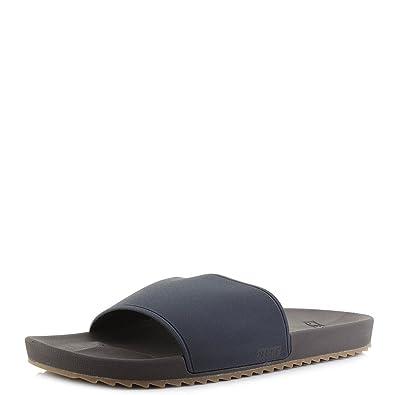 f8e62d9e4865 Reef Mens Slidely Brown Blue Slip On Sliders Flip Flop Sandals Size ...