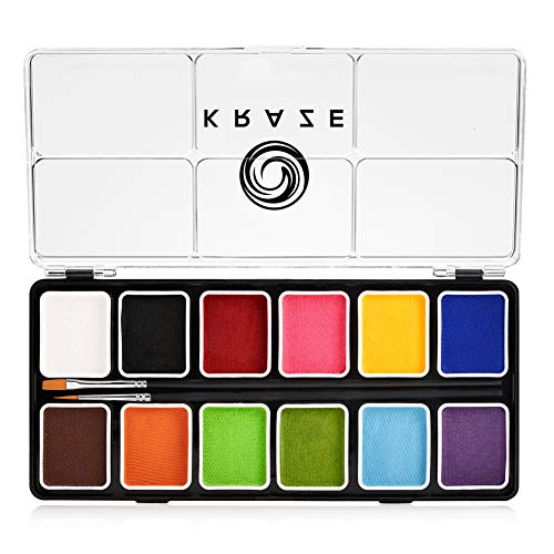 Kraze FX Fundamentals Face Paint Palette - 12 x 6 gm, Professional Body and Face Paint Kit, Hypoallergenic, Safe & Non-Toxic, Child Friendly, Ideal for Fairs, Party & Halloween ()