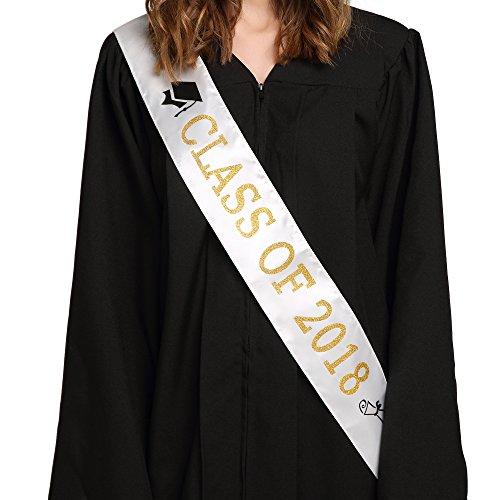 "White ""Class of 2018"" Graduation Sash   Gold Glitter Letter Graduate Satin Sash   Funny Graduation Gifts for Boy or Girl  2018 Graduation Celebration Party (Graduation Ceremony Decoration Ideas)"