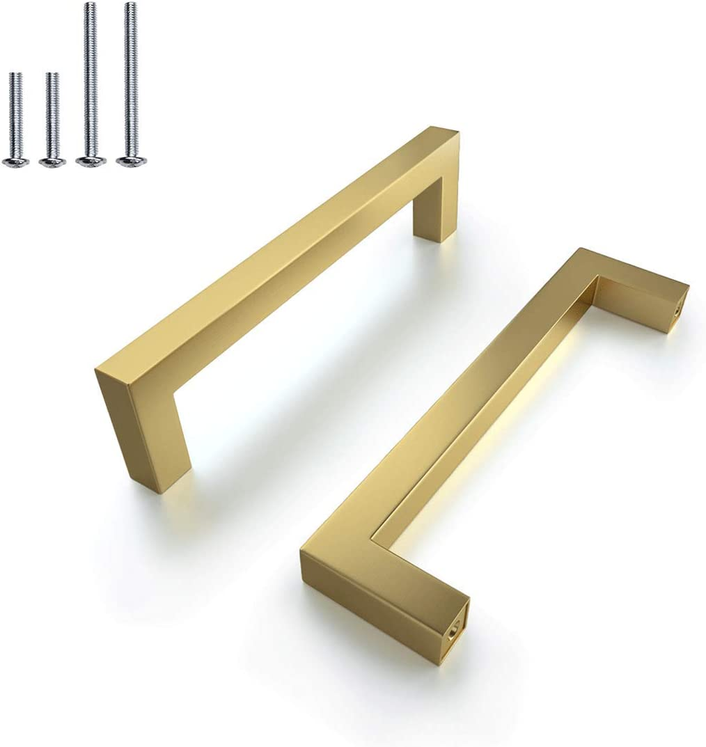 (25 Pcs) Brushed Square T Leiste Cabinet Handles Gold Brushed,Brass Drawer Dress Pulls Handles,Hole Centers: 5Inch,Diameter:12Mm/0.5 Inch
