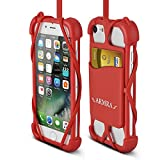 2 in 1 Cell Phone Lanyard Strap Case, Universal Smartphone Neck Laniard Shockproof Cover with ID Card Holder Necklace Tether for iPhone 4 5 6 6s 7 Plus SE IPod Touch Samsung Galaxy S6 S7 S8 LG HTC