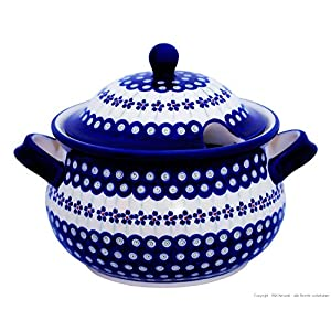 Blue Rose Polish Pottery Flowering Peacock Soup Tureen