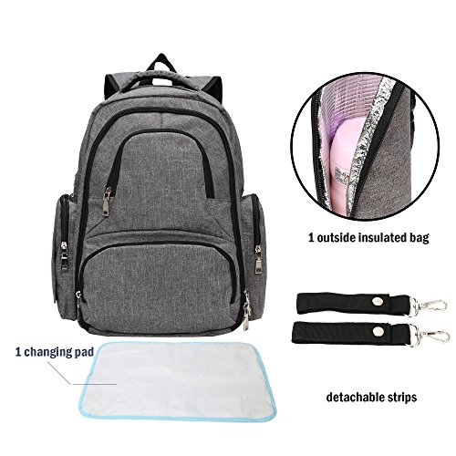 BISON DENIM Backpack Diaper Bag Water Resistant Baby Nappy Bag Insulation Mom Baby Care Backpack with Changing Pad & Stroller Strap (Denim Pad Changing)