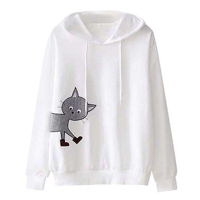 Logobeing Sudadera Mujer Camiseta Manga Larga con Capucha y Cuello Redondo Blusa Tops Jersey Sudaderas con