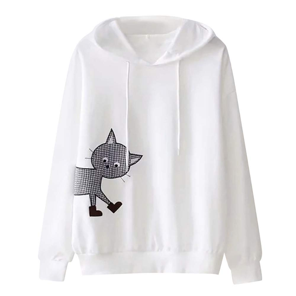 Womens Long Sleeve Cat Printing Hooded Round Neck Sweatshirt Blouse Tops, White L