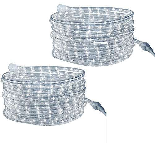t Cool-White - for Indoor and Outdoor use, 24 Feet (7.3 m) - 10MM Diameter - 144 LED Long Life Bulbs Rope Lights - Pack of 2 ()
