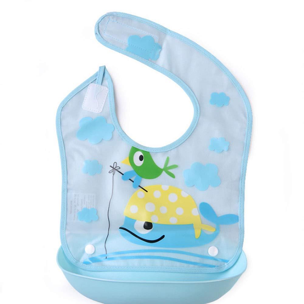 blau Baby Geschirr Baby L/ätzchen Baby achteckige L/ätzchen wasserdicht Runde drehbare Slobber