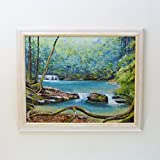 FOREST OPENING - original waterfalls painting, tropical scene, framed.