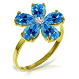 ALARRI 2.22 Carat 14K Solid Gold Love So Bright Blue Topaz Diamond Ring With Ring Size 5.5