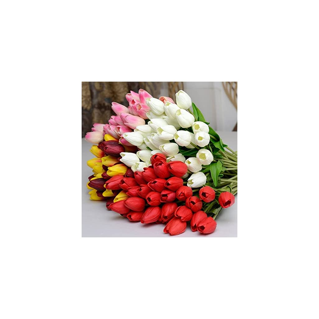 Romote 10pcs Classic Artificial Flowers, Silk Flowers, Hot Pink Tulips for Wedding Bridesmaid Bridal Bouquet Home Decoration (Pink)